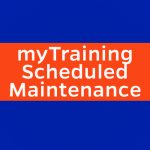 text that says mytraining scheduled maintenance and two color boxes in uf brand blue and orange